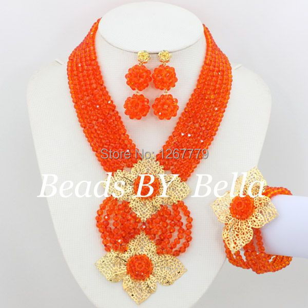 New African Jewelry Set Orange Nigerian Wedding African Beads