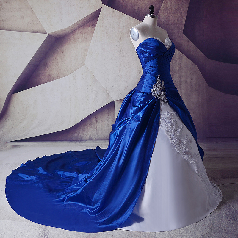 Vintage Royal Blue And White Wedding Gowns Dresses 2018 Sweetheart