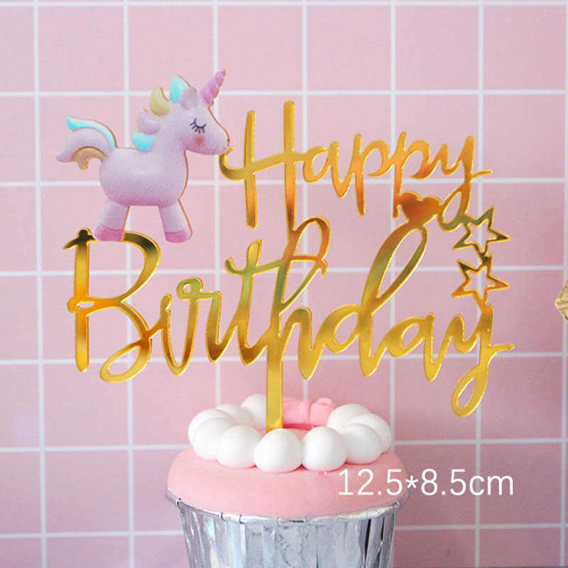 Gold Unicorn Acrylic Cake Topper Flamingo Happy Birthday Cupcake For Baby Shower Mermaid Party