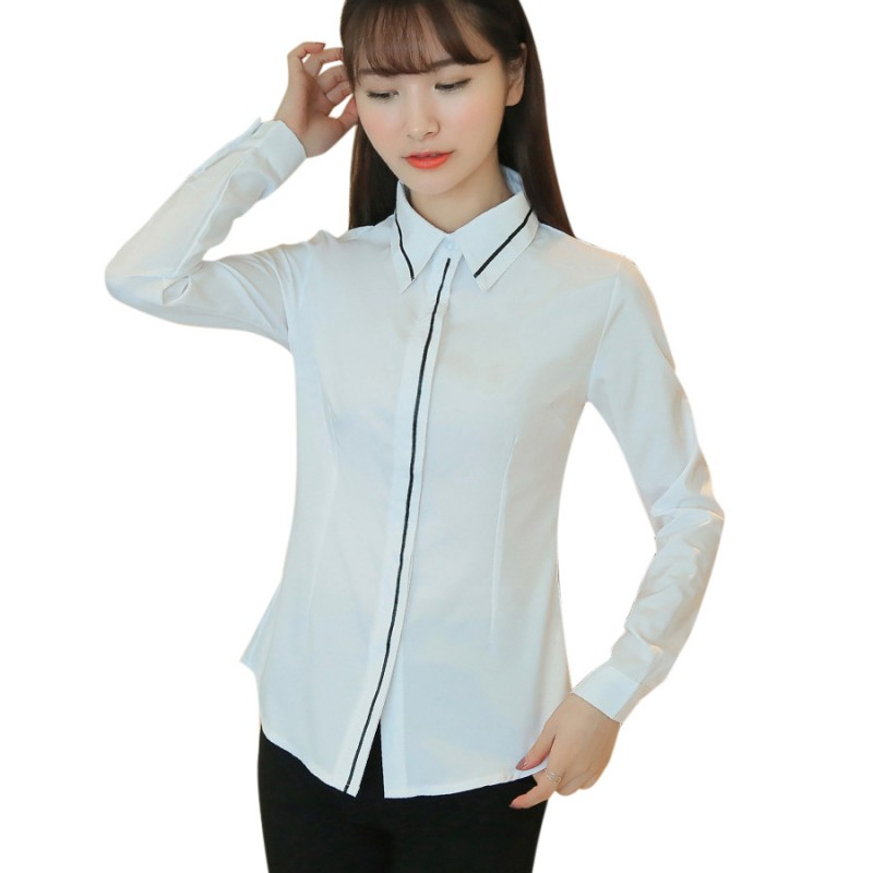 Female Elegant Black Bow Tie White Blouses Chiffon Peter Pan Collar