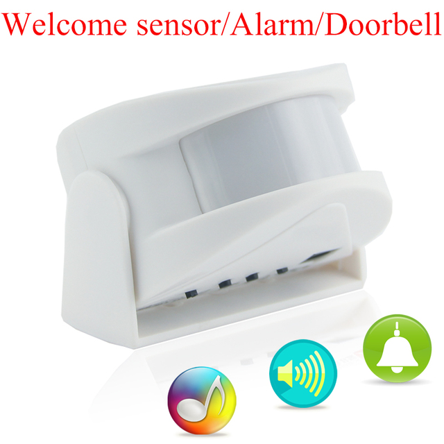 M5 Shop Home Hotel Entry Welcome Doorbell Alarm Infrared Detector Door Welcome Alarm Music Chime Motion Sensor White Pink Yellow