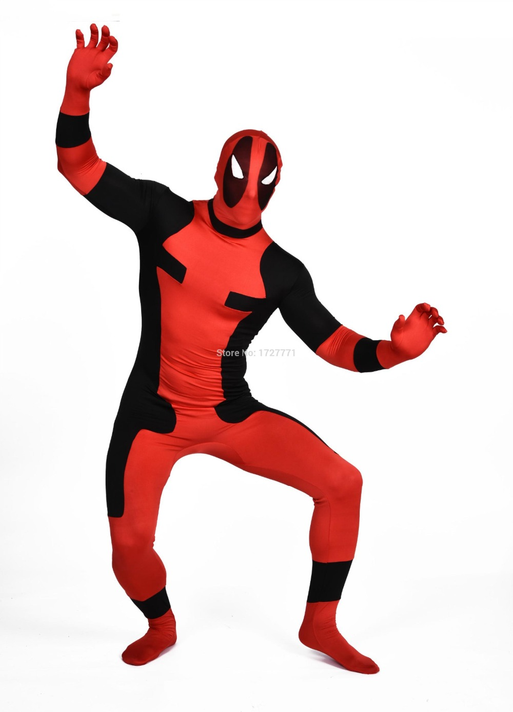 (DP914) Black And Red Tights Unisex Cheap Deadpool Fetish Zentai Suits Superhero Cosplay Halloween Party Costume