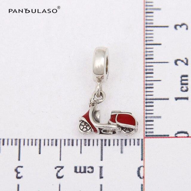 925 Sterling Silver Bead Moto Con Smalto Rosso Branelli di Fascino Ciondola Beads Discussione Adatto Braccialetto DIY Fare LW258