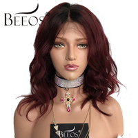 Ombre Full Lace Wig Red Human Hair Wavy Wig For Women 130% Pre Plucked Hairline Human Brazilian Hair Remy 1b/99J Beeos