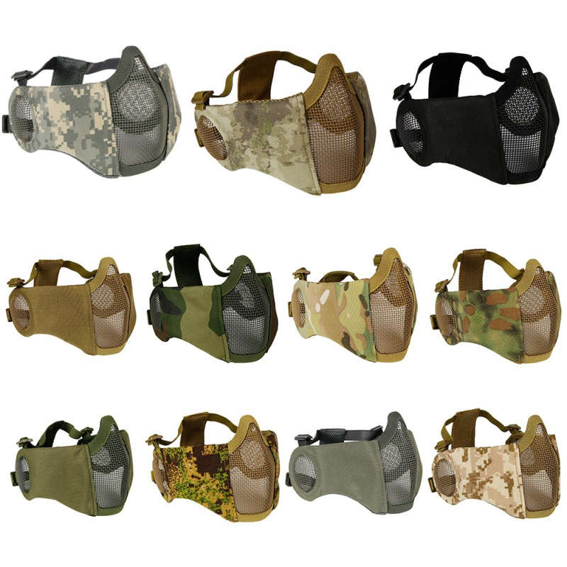 Foldable Tactical Half Face Protective Mask Mesh Lower Face Mask with Ear Protection for Military Paintball