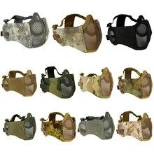 Складная тактическая половина лица Защитная маска сетка нижняя маска для лица с защитой ушей для военный Пейнтбол Охота страйкбол