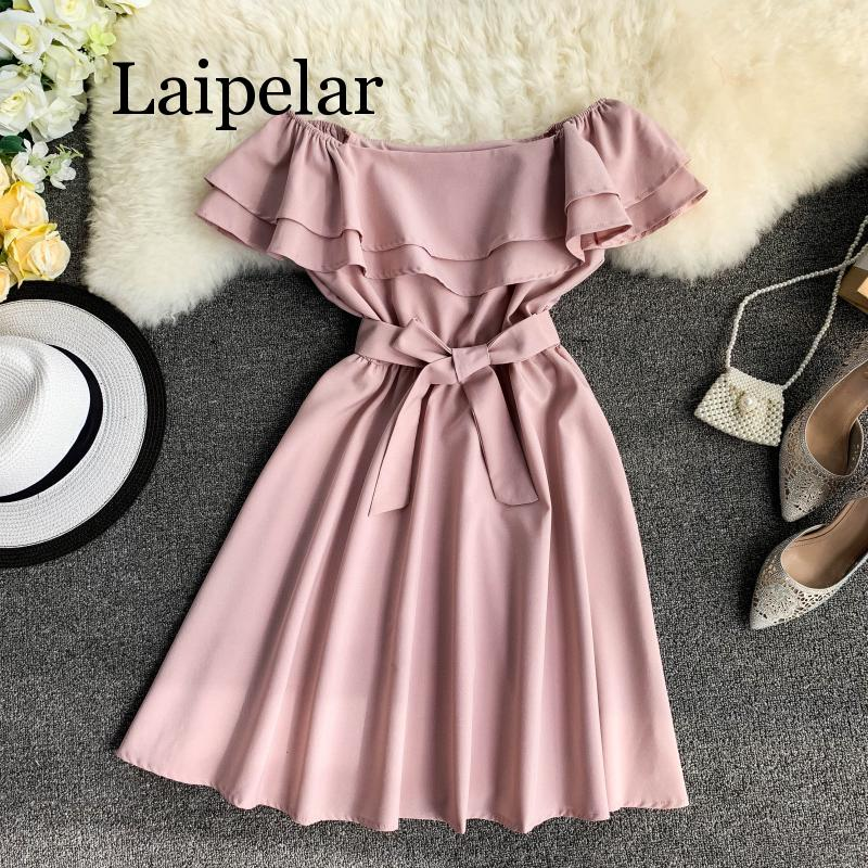 Laipelar Ruffles Off Shoulder <font><b>Sexy</b></font> Summer Bandage Mini Short <font><b>Dress</b></font> Party Women Casual Beach Holiday Tie Elegant image