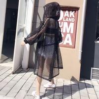 2018 Summer Long Jacket Sexy Perspective Women Bomber Jacket Ivy Park White/Black Long Sleeve Windbreaker Coat Baseball Jacket