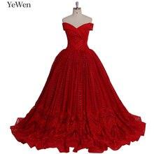 חדש עיצוב תחרה אדום צבע חתונה שמלת 2020 ארוך כבוי כתף הכלה שמלת כדור שמלת YeWen