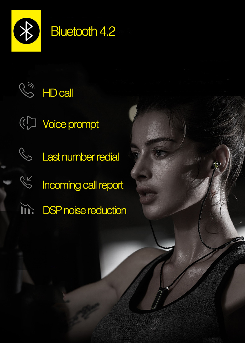 Yescool wearable sports Bluetooth 4.2 earphones IPX7 spill-resistant with smart APP support pedometer recording built in 8GB
