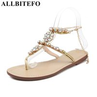 ALLBITEFO 2018 New Summer Bohemian Rhinestone Flat With Women Sandals High Quality Summer Sandals Girls Shoes