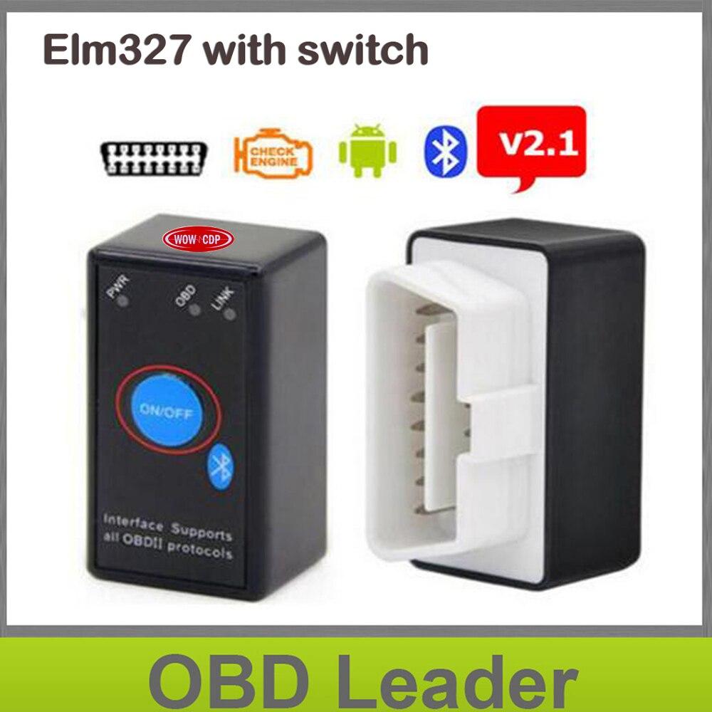 Prix pour ELM327 Bluetooth V2.1 avec Interrupteur D'alimentation ODB2 ODBII OBD II ELM 327 Bluetooth Testeur De Voiture Auto Diagnostic Outil D'analyse Couple Android