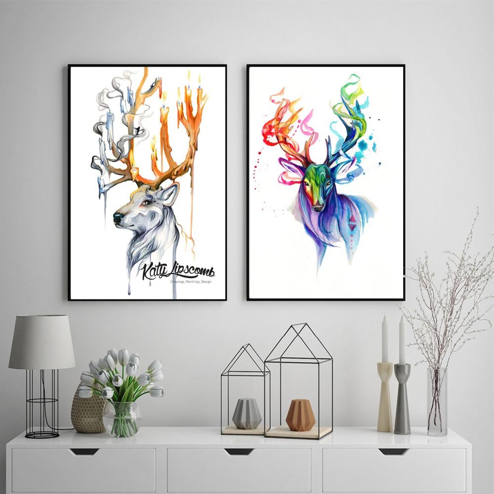 Deer Ink Watercolor Canvas Painting Posters And Prints For Living Kids Room No Framed Wall Art Picture Home Decor On Sale