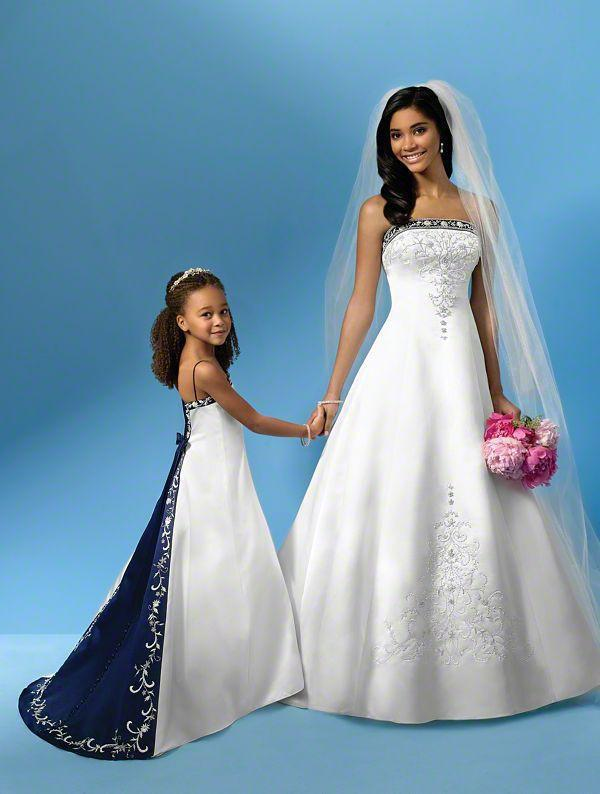 vintage embroidery strapless white and royal blue satin sheath a line wedding dress bridal gowns