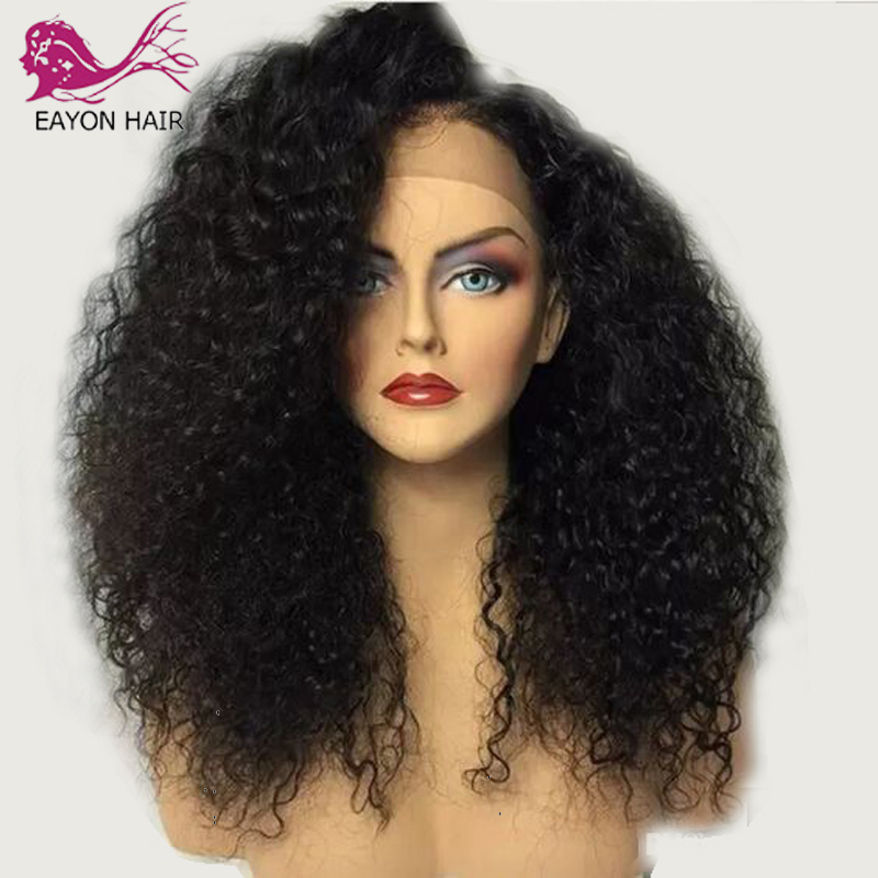 EAYON 13x6 Curly Lace Front Human Hair Wigs 180 Density Brazlian Remy Hair Wig With Baby