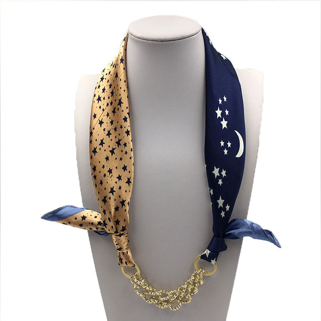 Pattern Printed Silk Shawl Acrylic Gold Plated Pendant Scarf Accessory Simple Style Elegant Women bandana scarf women