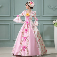 2018 Sweet Pink Square Collar Long Sleeve Baroque Rococo Floral Party Dress 18th Century Southern Belle Dress For Women