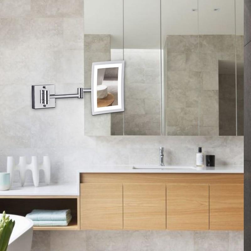 Купить с кэшбэком GURUN Frameless Rectangle Glamour LED Lighted 3X Magnifying Makeup Mirrors Wall Mounted Bathroom Shaving Mirror Chrome Polished