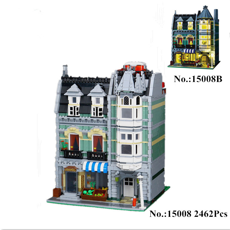 H&HXY IN STOCK 2462Pcs 15008 15008B City Street Green Grocer Model Building Kits Blocks Bricks Toys Gift LEPIN Compatible 10185 in stock 2462pcs free shipping lepin 15008 city street green grocer model building kits blocks bricks compatible 10185