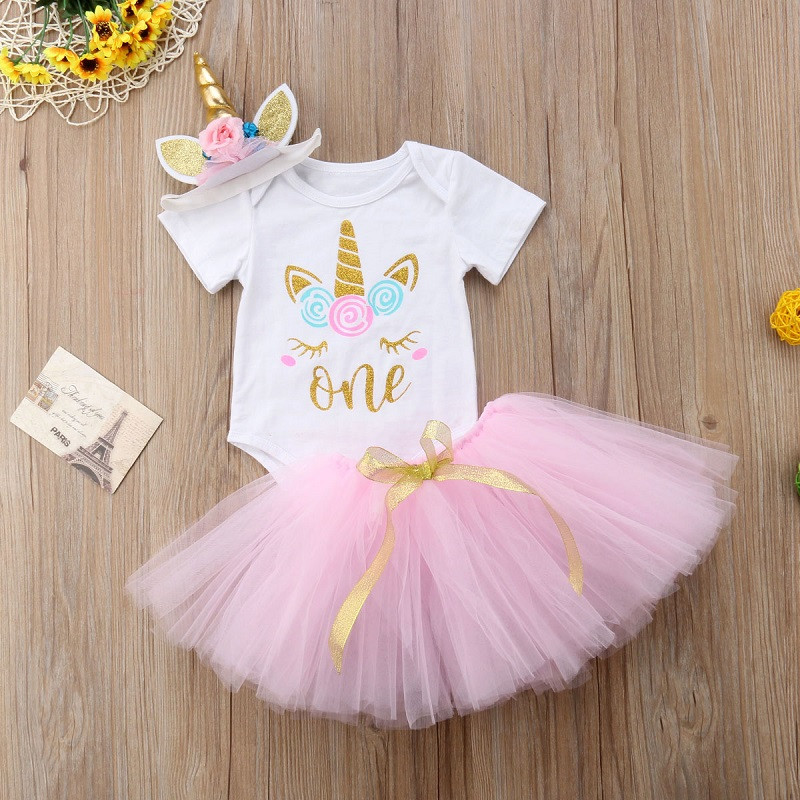 Toddler Baby Girl First 1st Birthday Unicorn Costume Outfit Pink Tutu Infant Party Dress For Girl Summer Clothes Baptism One