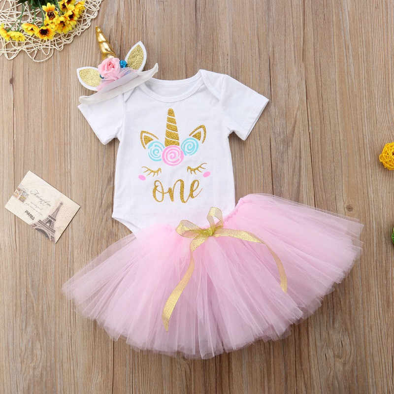 2573fbfe426 Detail Feedback Questions about Toddler Baby Girl First 1st Birthday  Unicorn Costume Outfit Pink Tutu Infant Party Dress For Girl Summer Clothes  Baptism One ...