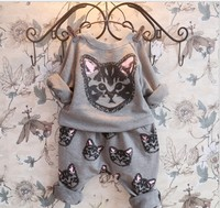 New Arrive Autumn Baby Clothes Cute Cat Print Boys Clothing Set For Girls Hoodies Harlan Pants