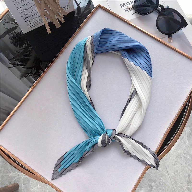 NEW Design women square silk pleated scarf for ladies hair neck scarf women letters print kerchief foulard Apparel Accessories