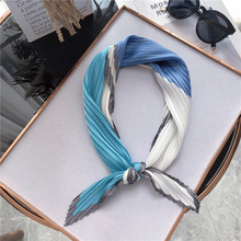 NEW Design women square silk pleated scarf for ladies hair neck letters print kerchief foulard Apparel Accessories