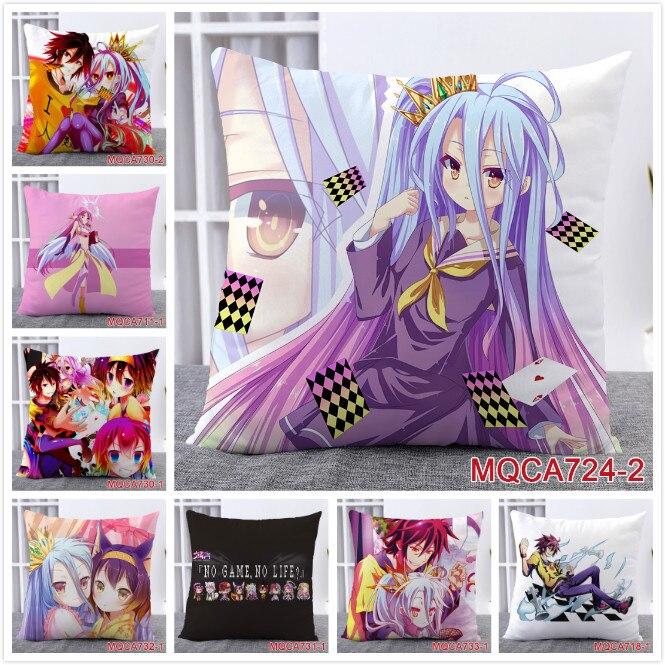New Home Textile Two sided Square Throw Pillow Cover Cases Anime NO GAME NO LIFE Shiro Sora angel Jibri Dakimakura