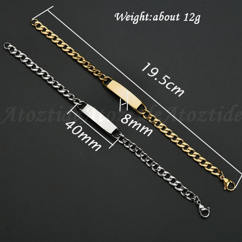 Atoztide Customized Words Bar Chain Bracelet Men Stainless Steel Engraving Letter Name Silver Color Adjustable Buckle Bangle