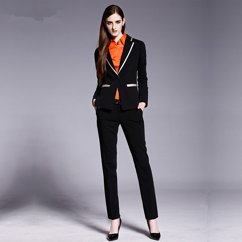 Women Pant Suits Trousers New Business Women Formal Office Suits Suits Work Wear 2 Piece Set Custom Made Black One Button Suit