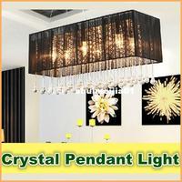 Simple Modern Pastoral Warm Romantic Crystal Lamp LED Restaurant Light Dining Room Rectangular Hanging Lights For