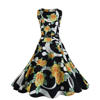 Elegant Vintage 50s Robe Floral Womens Fall Dresses Garden Party Picnic African Dress Styles For Women Belt Dropship CCN5077