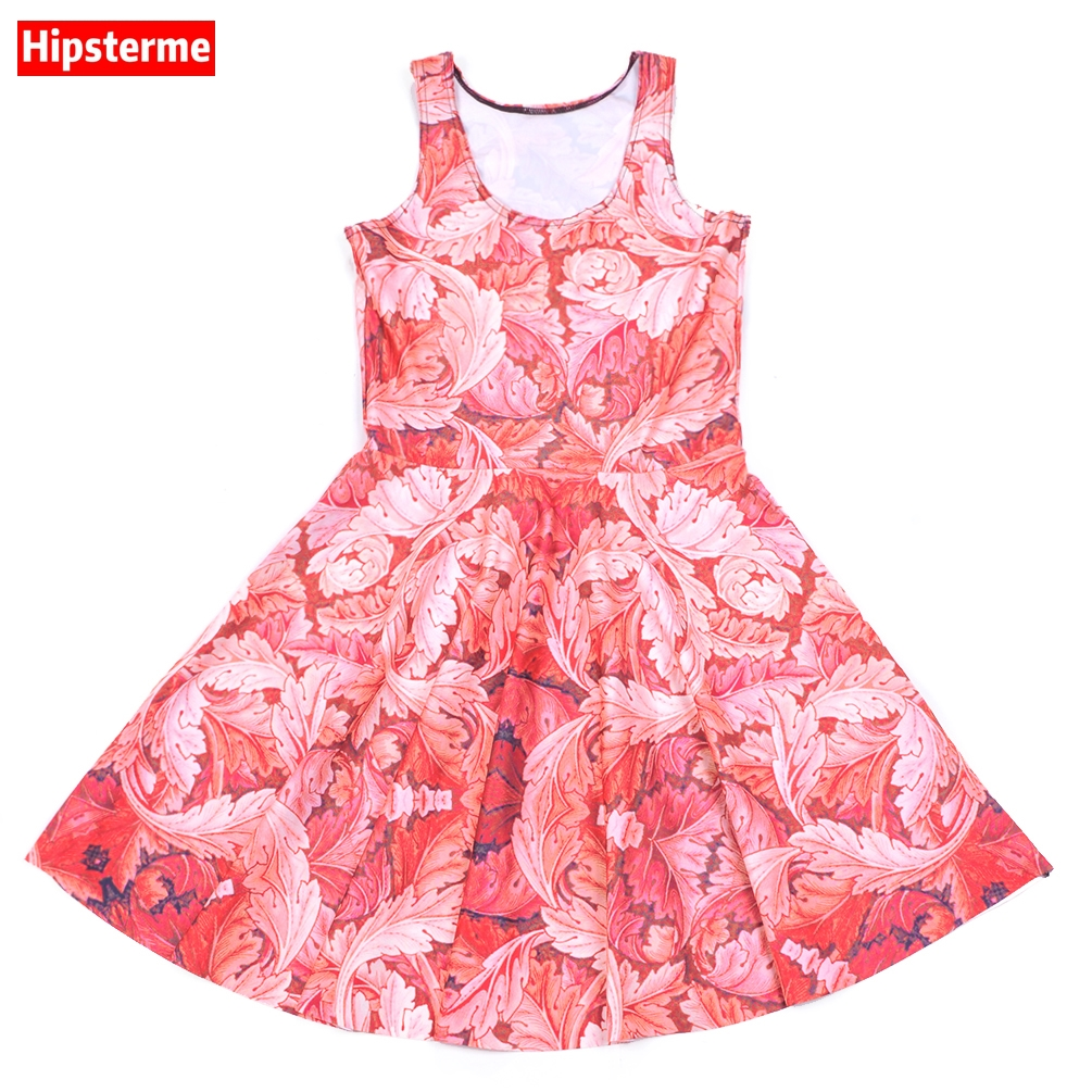 Buy Cheap New Arrival Women's Dress Red Tropical plants Digital Printed Women Summer Casual Sleeveless Evening Party Slim Mini Dress