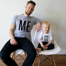 Family Matching Outfit Dad Father Kids Children Boy Son T Shirt Short Sleeve Clothing Wear Cotton Tops