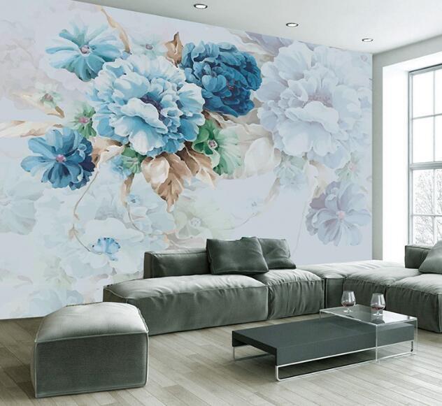 3d relief papier peint fleur motif pour tv fond moderne for Papier peint relief 3d