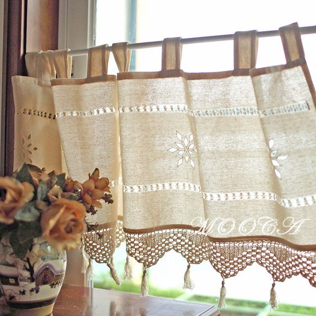 Rustic Cotton Short Kitchen Curtain With Crochet Lace Tassel 45x150cm Decoration