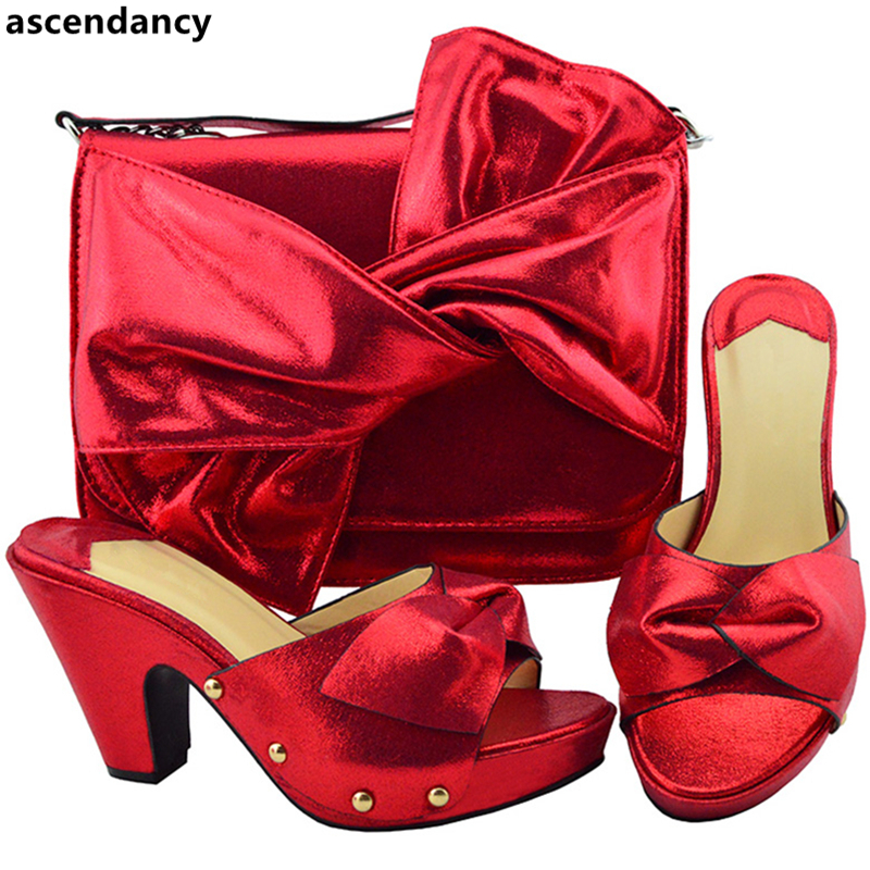 rouge Italien Royal Mariage Partie purple or vert Sumer Nouvelle bleu Pour Nigérian Sac Le Noir Arrivée Ensemble Chaussure Et Chaussures Décoré Correspondant Strass Avec fuchsia wn54C1q