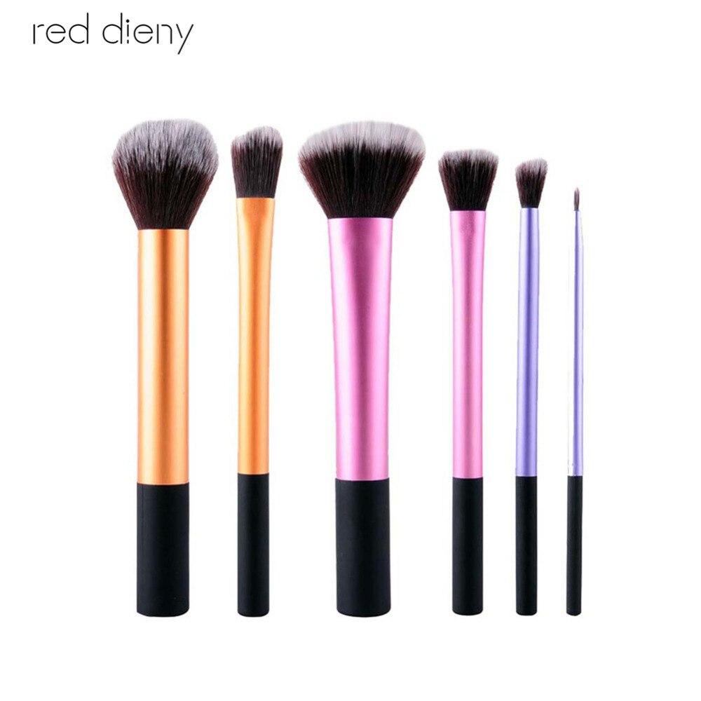 b style cosmetic makeup powder 6 eyeshadow 1 eyebrush 2 blusher palette set 6 Pcs/set Blusher Makeup Brushes Set Pro Foundation Loose Powder Contour Eyeshadow Eyeliner Lips Cosmetic Brush Makeup Tools
