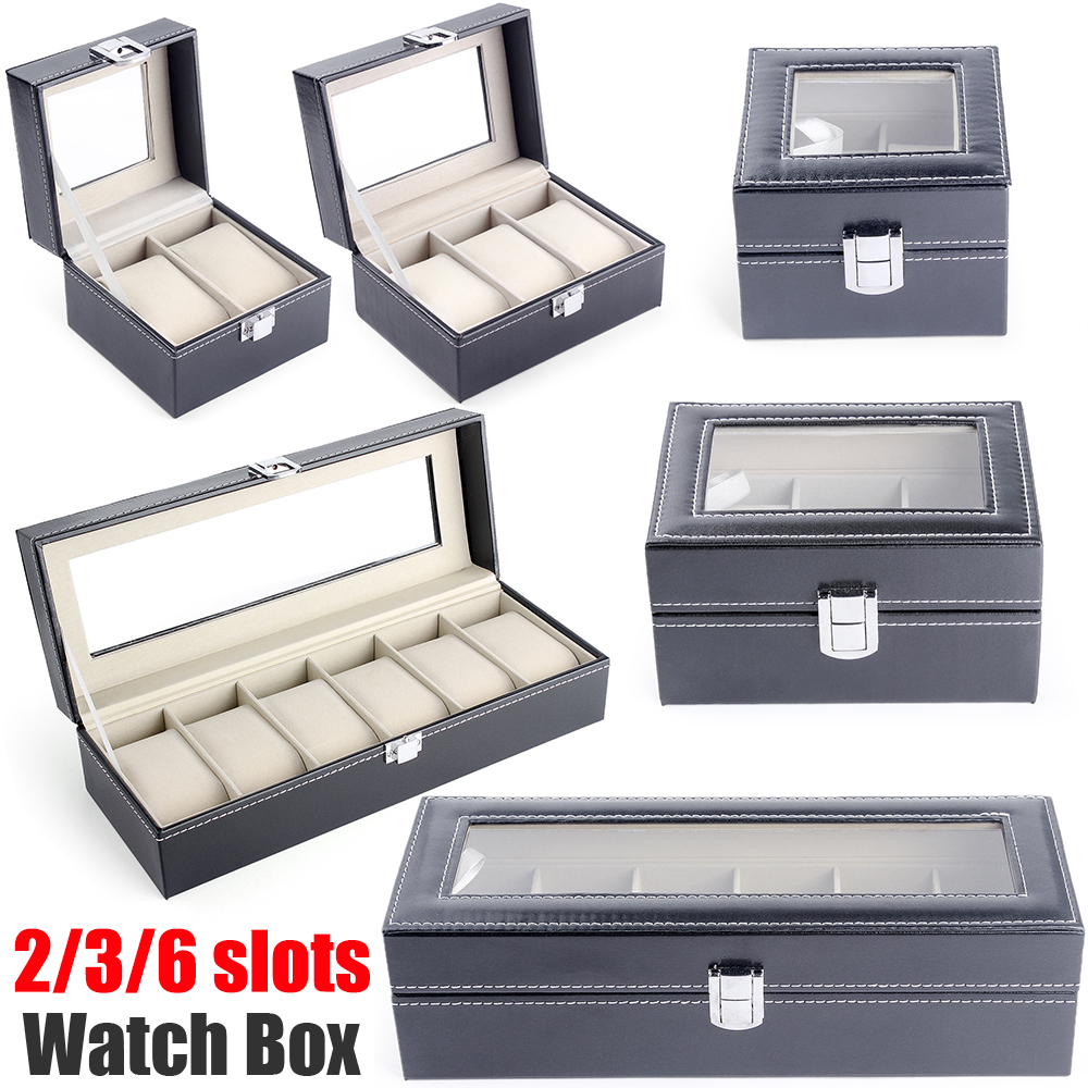 Watch Box Jewelry Organizer Box Watch Holder Organizer Box For Watches 2 3 6 Slot Pu Leather Glass Top Watch Display Case D30
