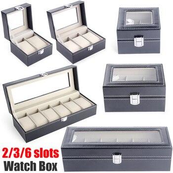 цена Watch Box Jewelry Organizer Box Watch Holder Organizer Box For Watches 2 3 6 Slot Pu Leather Glass Top Watch Display Case D30 онлайн в 2017 году