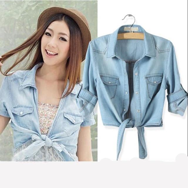 5380f8e1e59fa Plus Size Women Denim Knot Tie Crop Top 2017 Summer Korea Thin 3 4 Sleeve  Turn-Down Collar Cape Blouses Casual Jeans Shirt