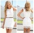Verano 2016 vestido de tirantes colores sólidos elegante floral del cordón del ganchillo vestidos de las mujeres zipper short dress awd0008