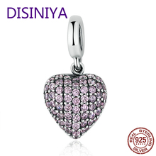 цены 925 Sterling Silver Sweet Love Heart Dangle Charm With Pink CZ Fit Original WST Bracelet Pendant Authentic DIY Jewelry Gift