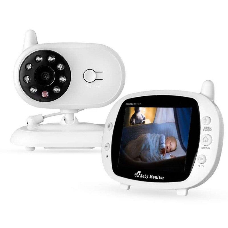 3.5 pouces MP3 lecteur de musique vidéo bébé moniteur IR Vision nocturne coloré LCD surveillance de la température longue Distance deux voies parler en arrière