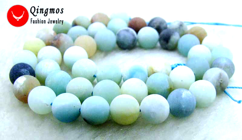 66d0866751f Qingmos 8mm ronda Frost azul Mulitcolor Natural amazonita suelta perlas para  la joyería haciendo collar pulsera Strand 15 - los608