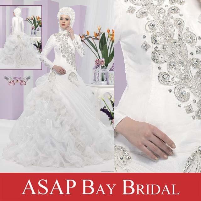 Free Shipping Arabic Modern Muslim Wedding Dress Ball Gown Long ...