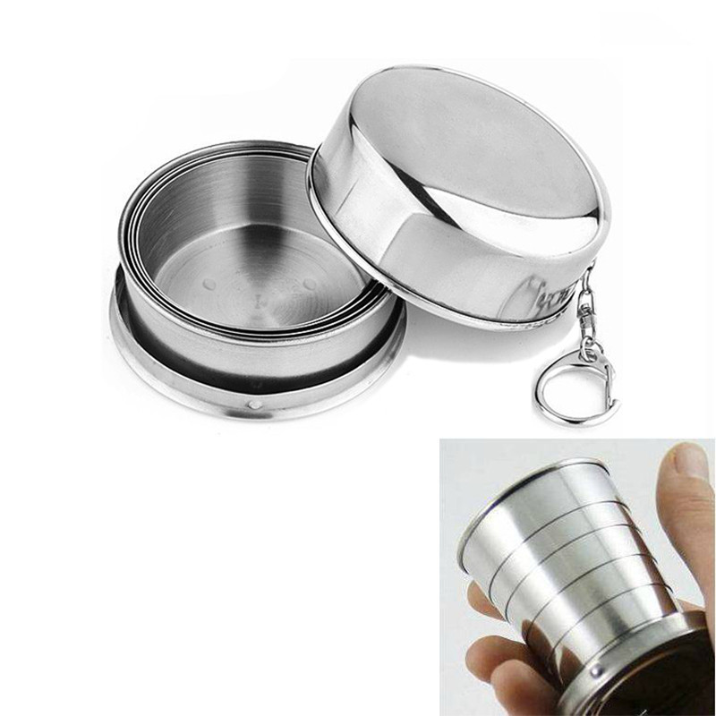 2019 1Pcs Stainless Steel Folding Cup Travel Tool Kit Survival EDC Gear Outdoor Sports Mug Portable for Camping Hiking Lighter