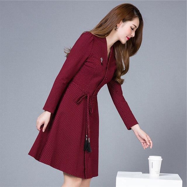3d2ae8618d779 Motif à pois automne/hiver simple boutonnage col en V robes femmes à  manches longues
