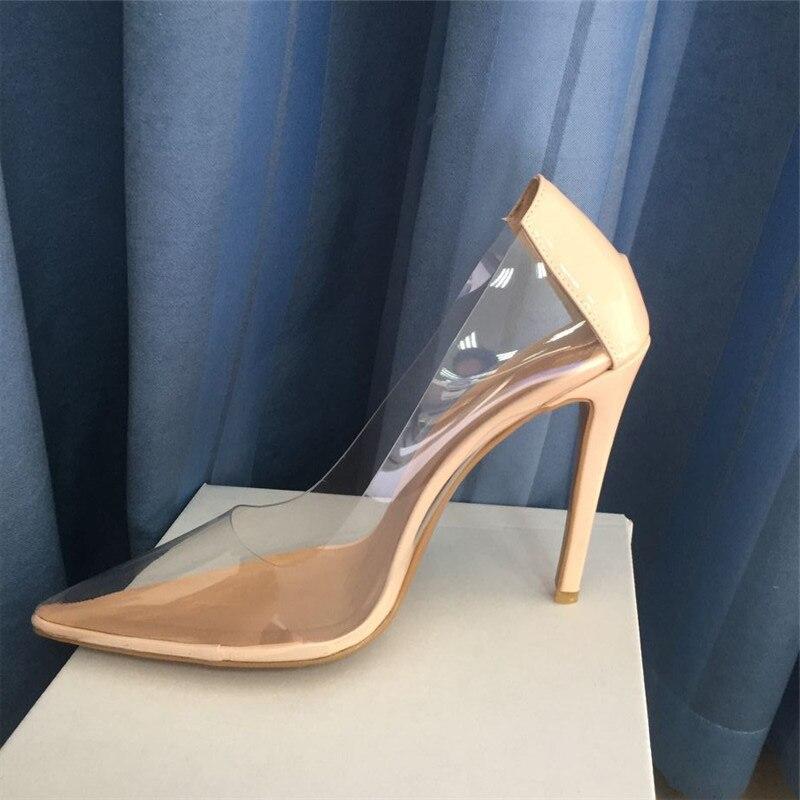 Size 44 Sexy Pvc Clear Women Pumps Pointed Toe Slip On Transparent Bride shoes Women Stiletto High heel Pump 10cm Shoes Woman - 3
